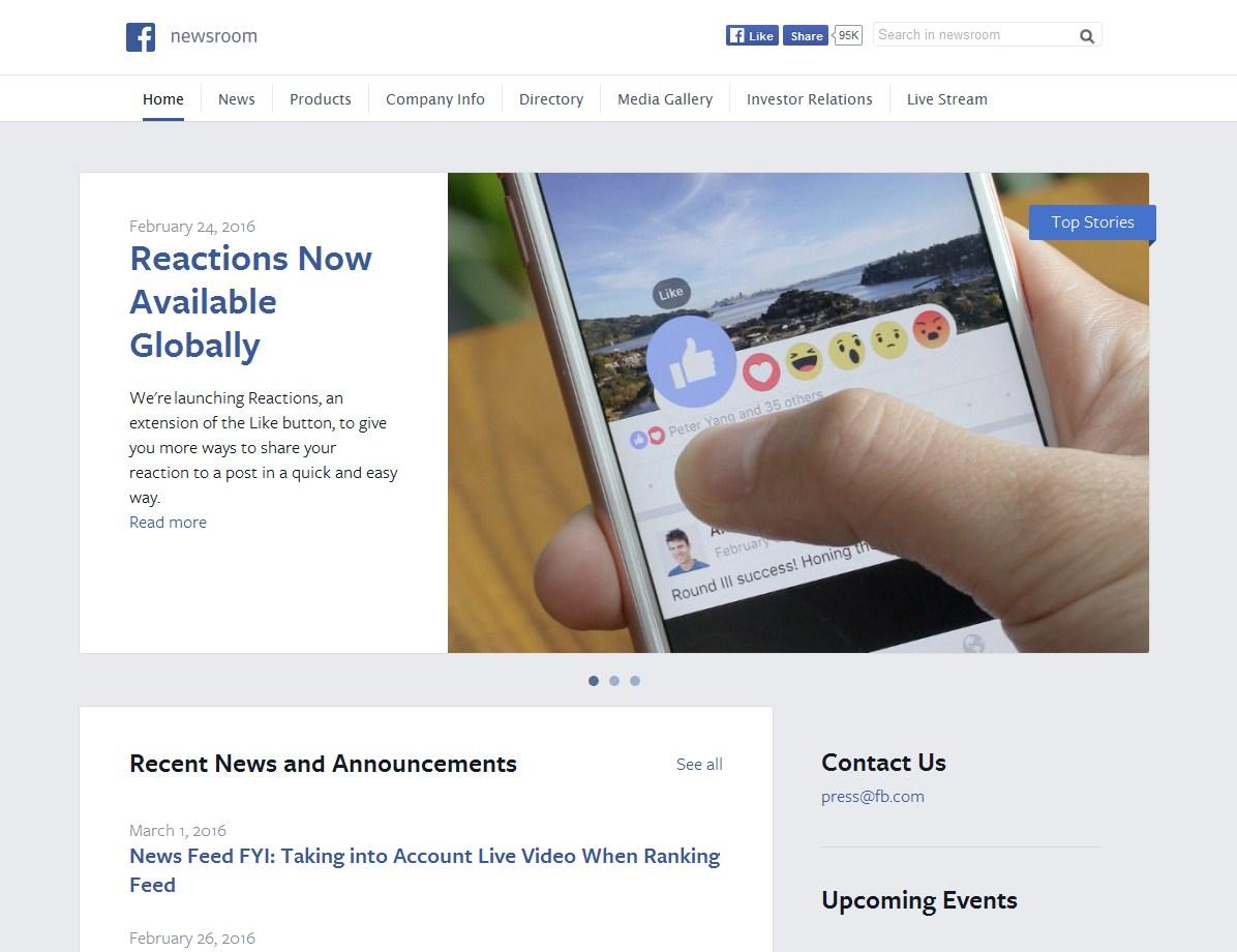 Facebok-пример сайта на wordpress