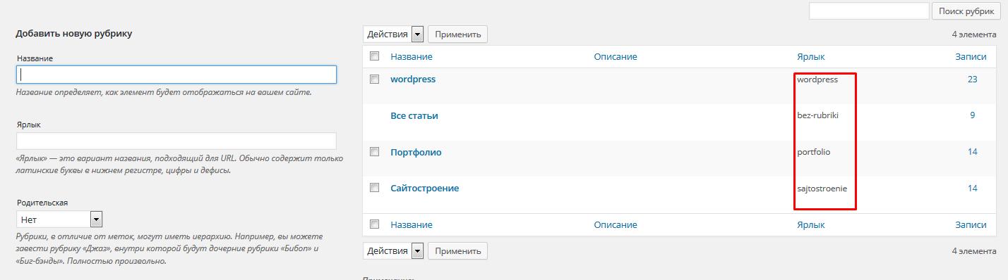 ярлык рубрики в WordPress