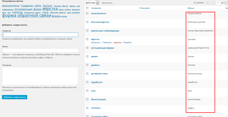 ярлык метки в WordPress