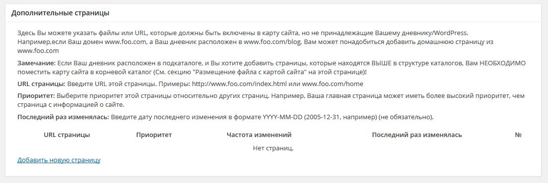 параметры Google XML Sitemaps