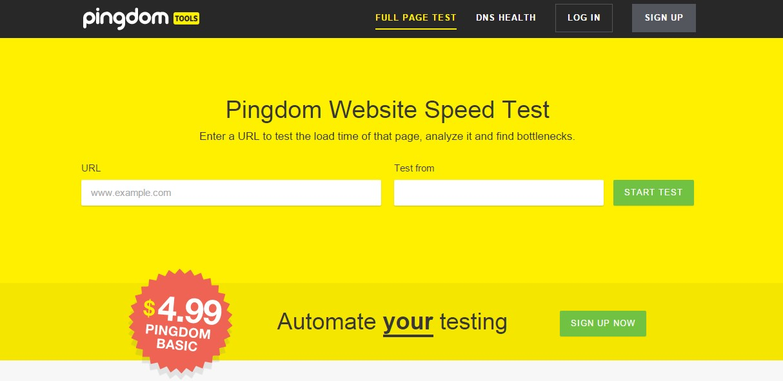 Онлайн сервис Pingdom Website Speed Test