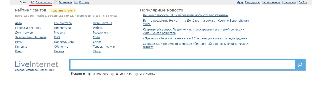 личный кабинет Liveinternet