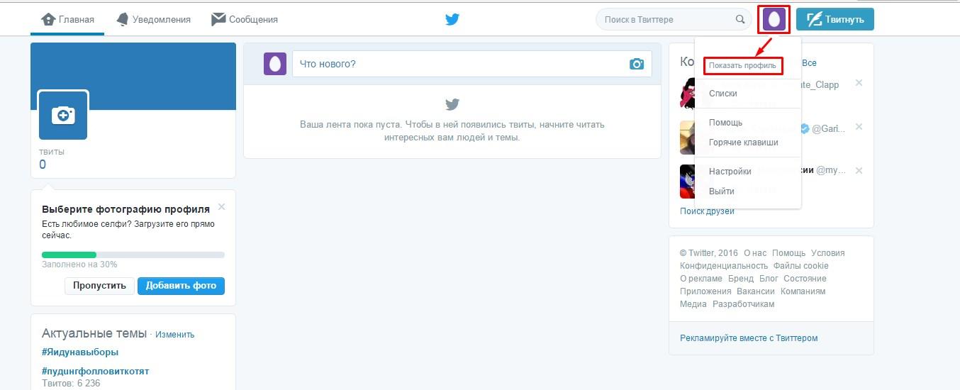настройка профиля Twitter