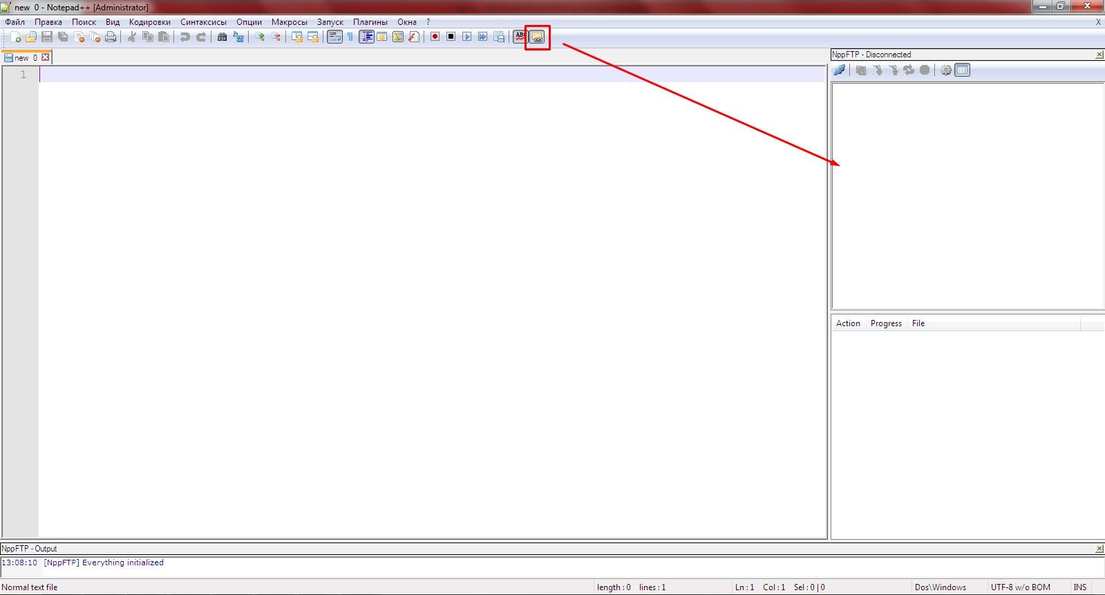Кнопка менеджера FTP-подключения