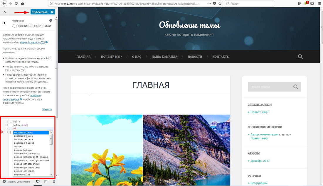 Настройки темы WordPress